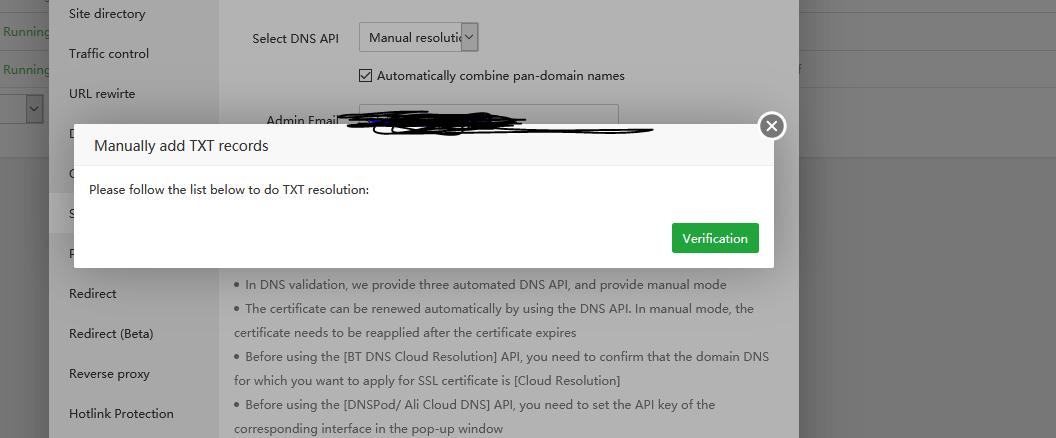 SSL LetsEncrypt - no verification possible - aaPanel